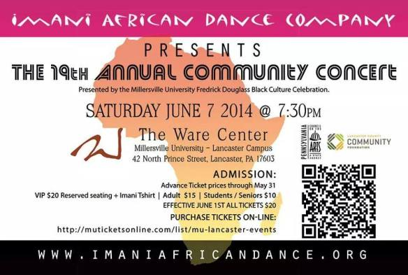 Imani Edu-tainers Traditional African Dance 730pm on 6/7/14 @ The Ware Center Lancaster Pa